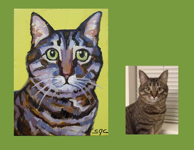 portrait of a cat, portrait of a tabby cat, Color Cat portrait by Sarah Gayle Carter, custom pet portrait by Sarah Gayle Carter