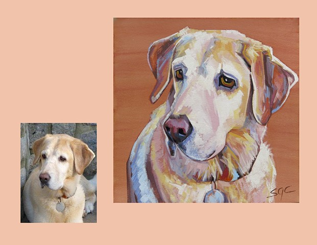 Color Dog portrait, pet portrait, dog portrait, custom oil dog portrait of a yellow lab, portrait of a Labrador Retriever, Color Dog portrait by Sarah Gayle Carter