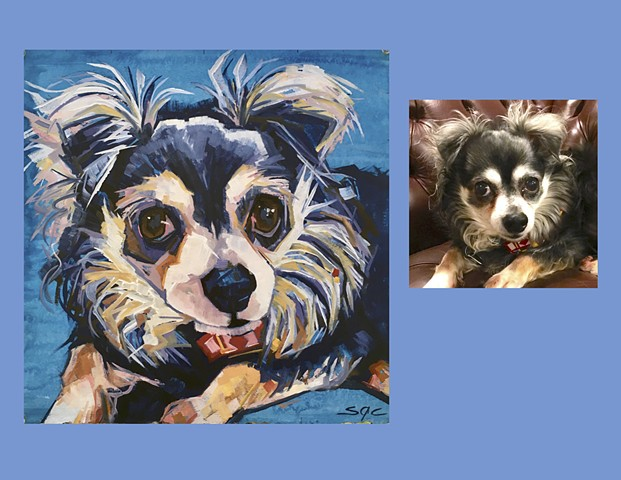 Color Dog portrait, pet portrait, dog portrait, custom oil dog portrait, painting of a dog, Color Dog portrait by Sarah Gayle Carter