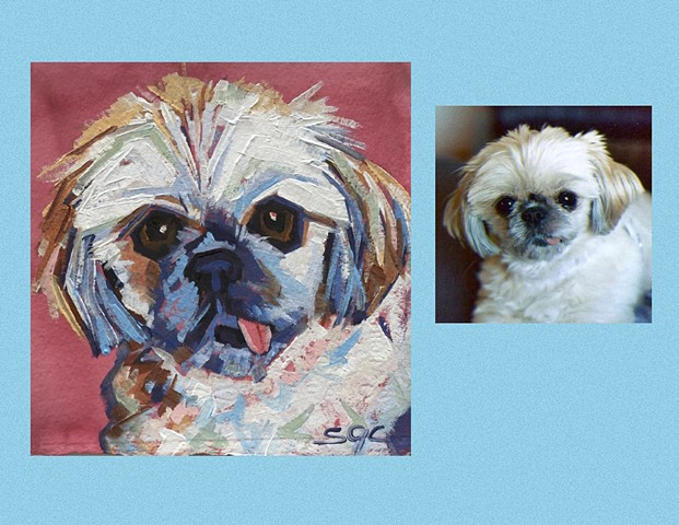 Color Dog portrait, pet portrait, dog portrait, custom oil dog portrait of a Shih Tzu, painting of a Shih Tzu , Color Dog portrait by Sarah Gayle Carter
