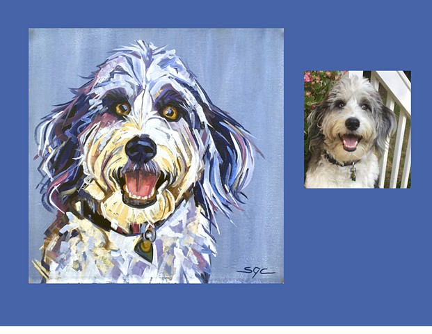 Color Dog portrait, pet portrait, dog portrait, custom oil dog portrait, painting of a Labradoodle, Color Dog portrait by Sarah Gayle Carter
