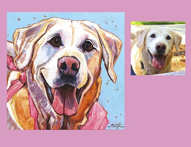 Color Dog portrait, pet portrait, dog portrait, custom oil dog portrait, painting of a yellow Lab, Color Dog portrait by Sarah Gayle Carter