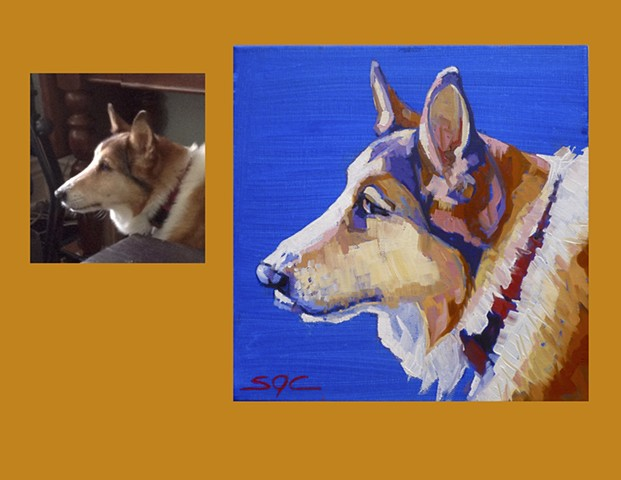 Color Dog portrait, pet portrait, dog portrait, custom oil dog portrait of a Collie, painting of a Collie, Color Dog portrait by Sarah Gayle Carter