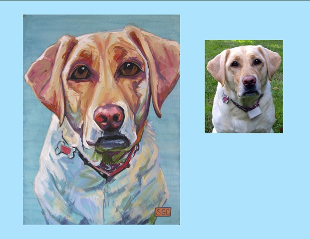 Dog portrait. Oil portrait of a yellow Lab. Painting of a yellow Labrador Retrieve. Color Dog portrait by Sarah Gayle Carter. Custom pet portrait.