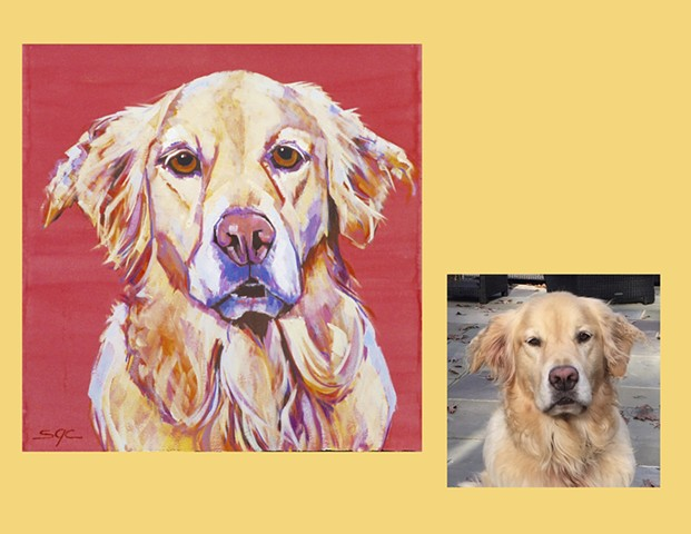 Color Dog portrait, pet portrait, dog portrait, custom oil dog portrait of a brown Poodle, painting of a Golden Retriever, Color Dog portrait by Sarah Gayle Carter