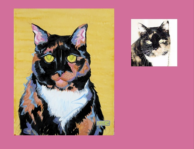 Whizz is a Calico Cat  This is her Color Cat portrait