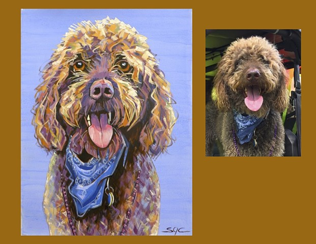 Color Dog portrait, pet portrait, dog portrait, custom oil dog portrait of a brown Poodle, painting of a Standard Poodle, Color Dog portrait by Sarah Gayle Carter