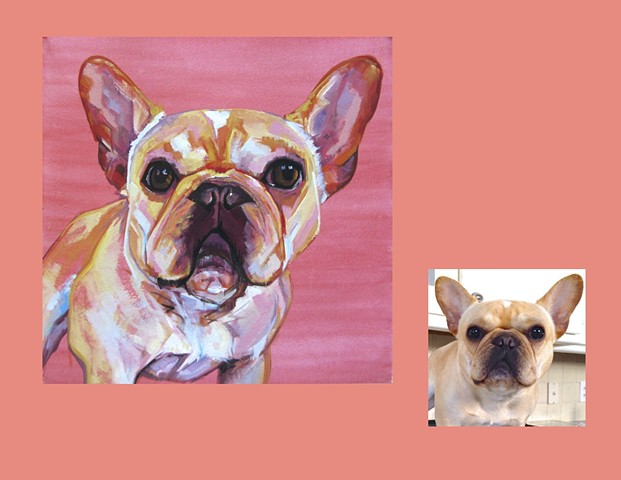 Color Dog portrait, pet portrait, dog portrait, custom oil dog portrait, portrait of a French Bulldog, portrait of a Frenchie