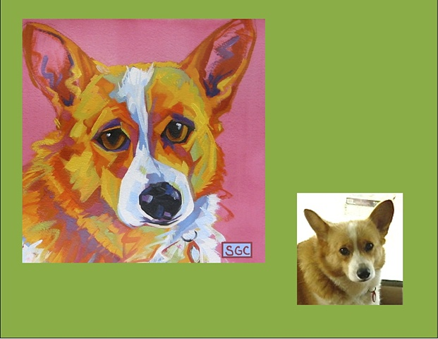 Miss Sally is a Corgi, this is her Color Dog portrait