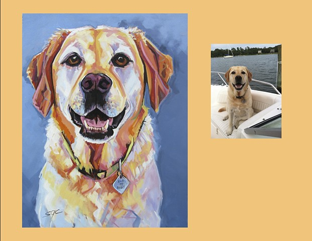 Color Dog portrait, pet portrait, dog portrait, custom oil dog portrait, portrait of a yellow Lab, Labrador Retriever