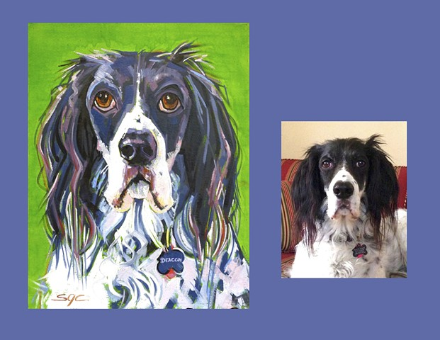 Color Dog portrait, pet portrait, dog portrait, custom oil dog portrait of an English Setter, painting of an English Setter, Color Dog portrait by Sarah Gayle Carter