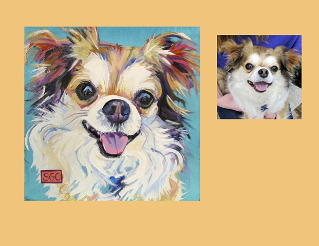 Color Dog portrait, pet portrait, dog portrait, custom oil dog portrait, portrait of a Long Haired Chihuahua