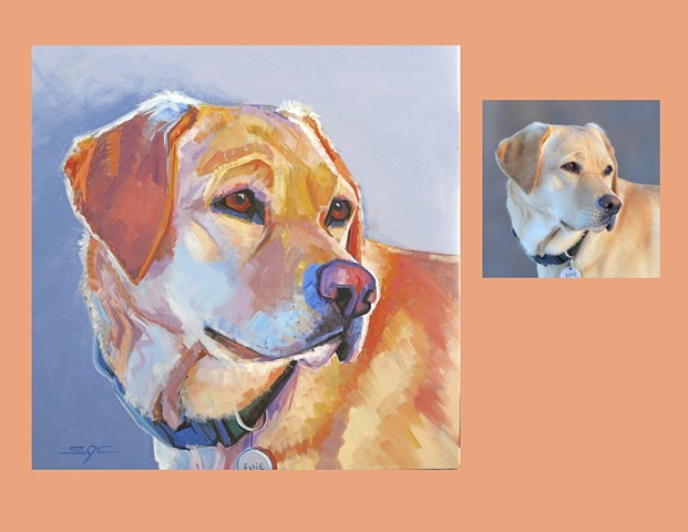 Color Dog portrait, pet portrait, dog portrait, custom oil dog portrait, portrait of a Labrador Retriever, portrait of a Yelow Lab, Color Dog portrait by Sarah Gayle Carter