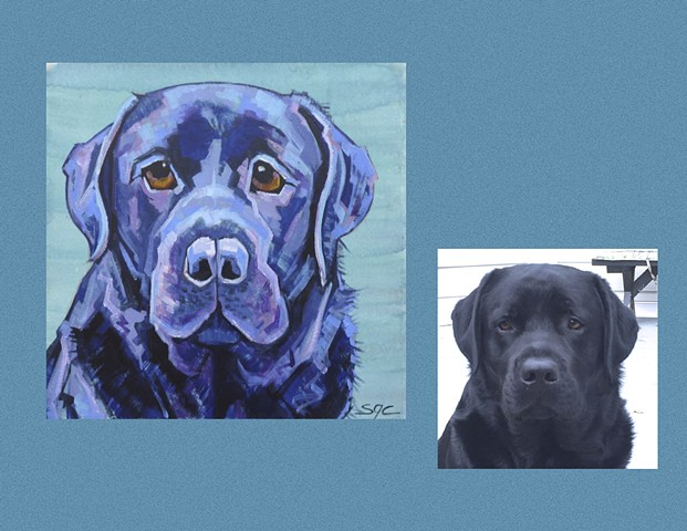 Color Dog portrait, pet portrait, dog portrait, custom oil dog portrait of a Black Lab, painting of a Labrador Retriever , Color Dog portrait by Sarah Gayle Carter
