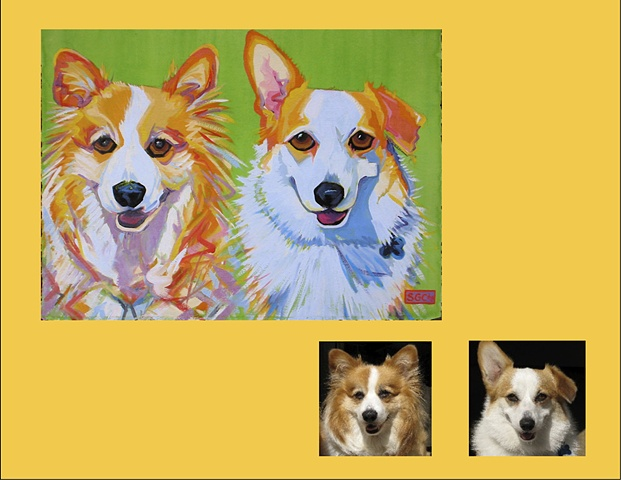 """Bonnie and Bogie are Corgis, this is their Color Dog portrait"