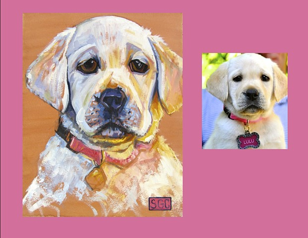 Color Dog portrait, pet portrait, dog portrait, custom oil dog portrait, portrait of a yellow lab puppy, portrait of a lab puppy, painting of a yellow lab