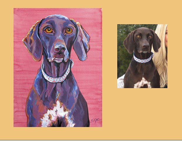 Color Dog portrait, pet portrait, dog portrait, custom oil dog portrait, portrait of a Labrador Retriever, portrait of a German Short Haired Pointer, Color Dog portrait by Sarah Gayle Carter