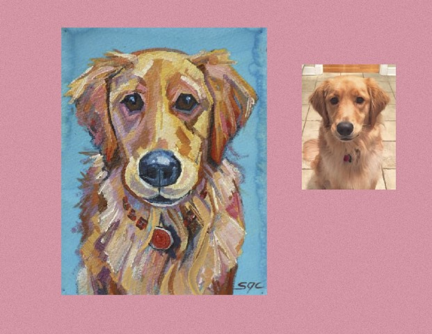 Color Dog portrait, pet portrait, dog portrait, custom oil dog portrait of a Golden Retriever, painting of a Golden Retriever , Color Dog portrait by Sarah Gayle Carter