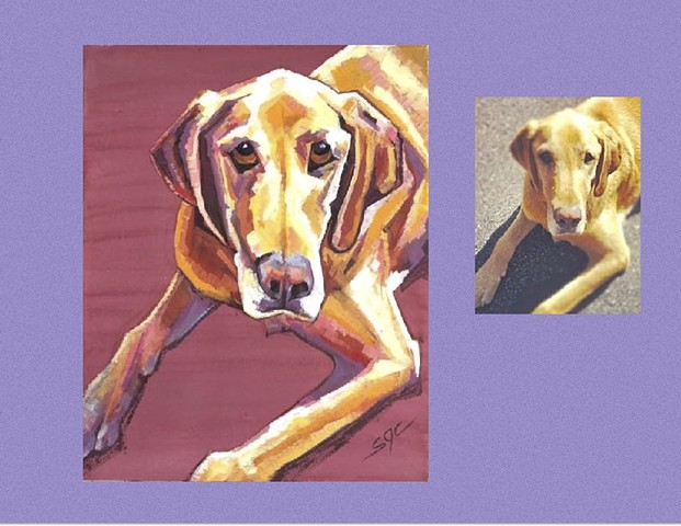 Color Dog portrait, pet portrait, dog portrait, custom oil dog portrait of a Yellow Lab, painting of a Labrador Retriever , Color Dog portrait by Sarah Gayle Carter