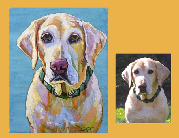 Color Dog portrait, pet portrait, dog portrait, custom oil dog portrait of a yellow lab, painting of a Labrador Retriever, Color Dog portrait by Sarah Gayle Carter