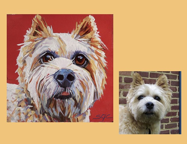 Color Dog portrait, pet portrait, dog portrait, custom oil dog portrait of a brown Poodle, painting of a Norwich Terrier, Color Dog portrait by Sarah Gayle Carter