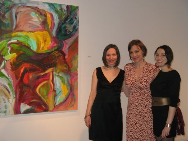 Curators Susan Ross and Melissa Staiger with artist Monique Ford.