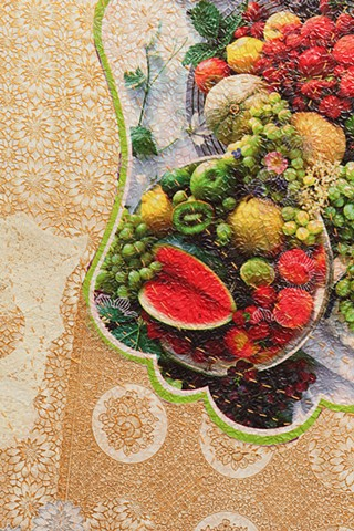 Detail. Mesa de Frutas, Table of Fruits, Chicago Artists Coalition, Chicago IL.
