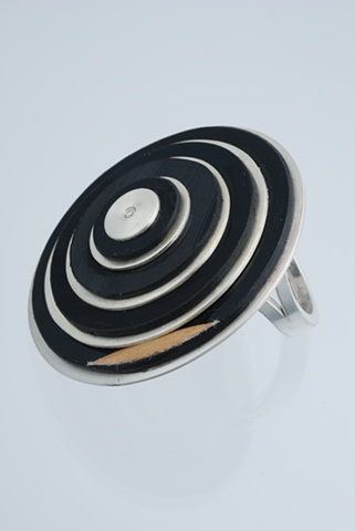 Ring in Sterling Silver with Vinyl Record and Diamond