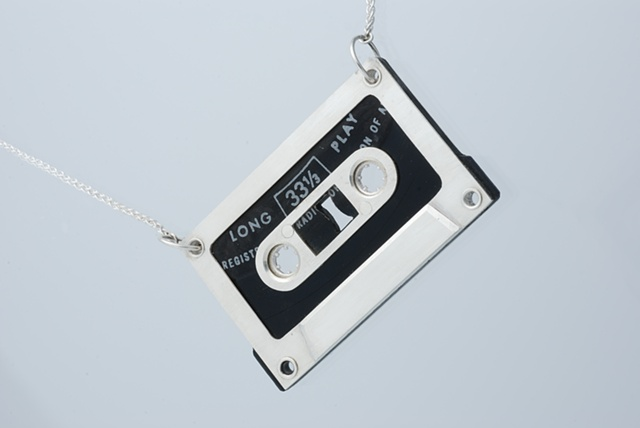 Sterling Silver and Vinyl Record Cassette Necklace