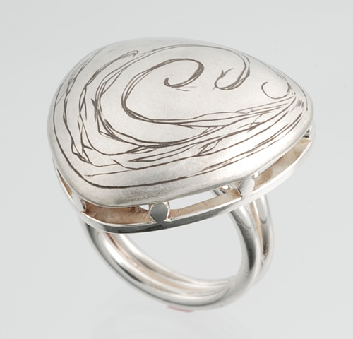 Hand engraved dome ring with hidden beauty