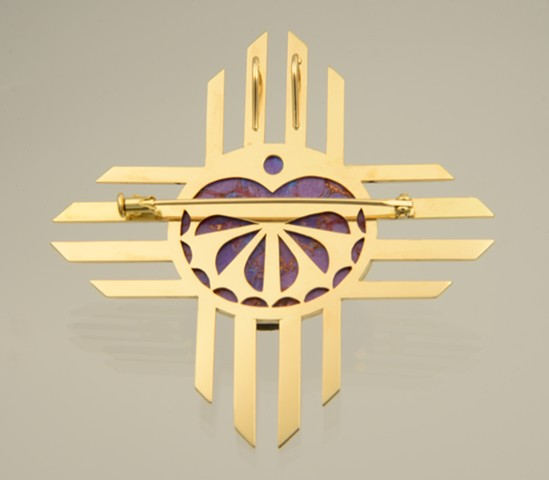 Zia Sun Symbol themed pin and pendant in 18 karat yellow gold with opal