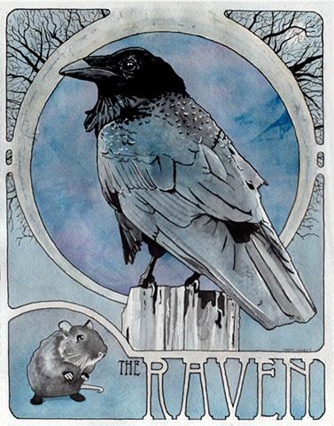 Raven watercolor painting Corbett Sparks