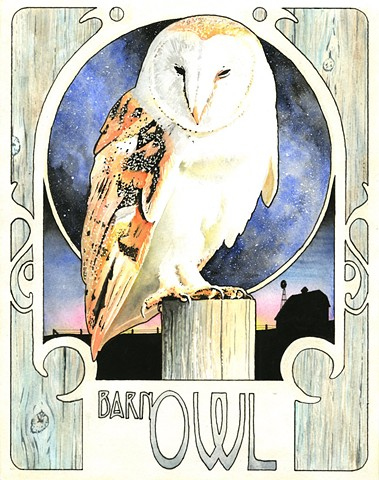 Barn Owl watercolor painting by Corbett Sparks