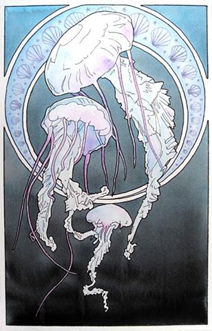 art nouveau jellyfish by Corbett Sparks