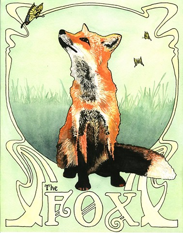 fox watercolor painting by Corbett Sparks