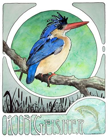 art nouveau Kingfisher bird watercolor by Corbett Sparks
