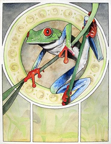 art nouveau treefrog painting