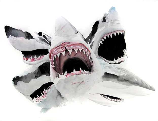 sharks jaws painted by Corbett Sparks