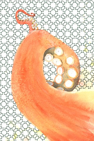 watercolor tentacle painting with Liza Oldham embroidery