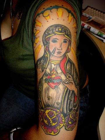 virgin mary tattoo by tatupaul