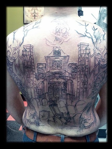 haunted house tattoo by tatupaul.com