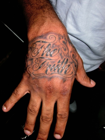 hand script tattoo by tatupaul