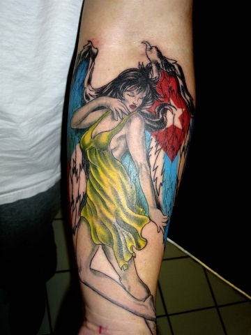 religious angel flags tattoo by tatupaul