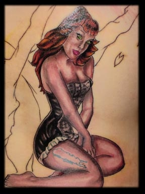 pin up girl tattoo by tatupaul.com