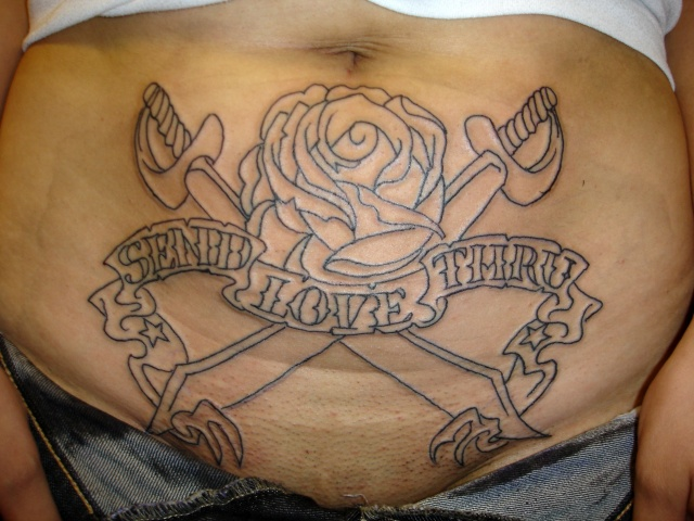 traditional outline tattoo by tatupaul