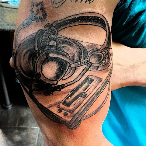 disc jockey tattoo by tatupaul.com