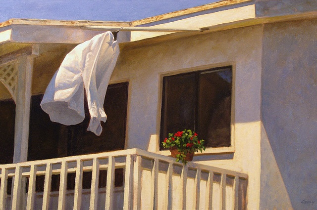 house, building, beach house, California, white shirt hanging on porch, flowerpot.