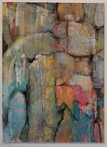 acrylic, abstract, stone, rock, charcoal, texture