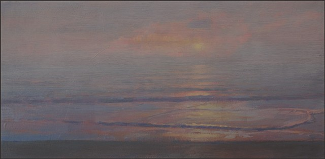 realist, fog, sunset, ocean, sea, water, horizon, reflections, painterly, nature, waves