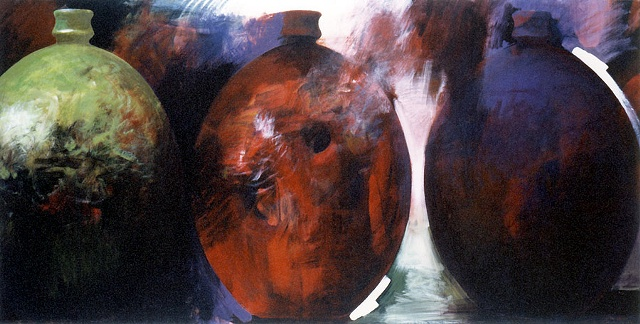 Three large vessel forms, deep saturated color, red, green, violet, white accents, brooding